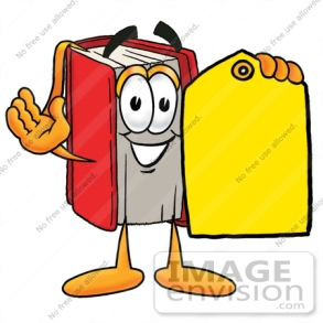 22577-clip-art-graphic-of-a-book-cartoon-character-holding-a-yellow-sales-price-tag-by-toons4biz